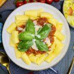 Reispasta mit veggie Bolognese