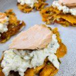Süßkartoffelpuffer mit Lachs